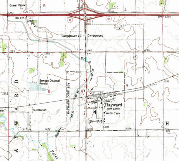 Topographic map of the Hayward Minnesota area