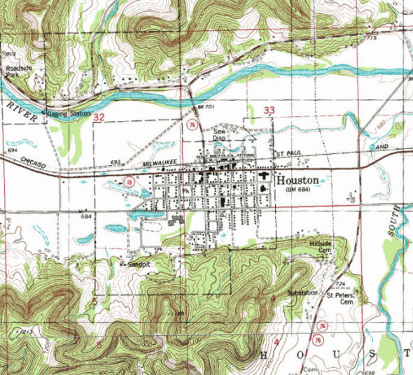 Topographic map of the Houston Minnesota area
