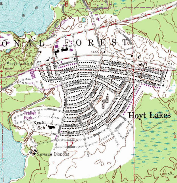 Topographic map of the Hoyt Lakes Minnesota area