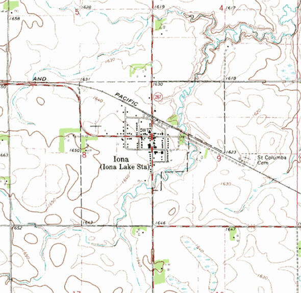 Topographic map of the Iona Minnesota area