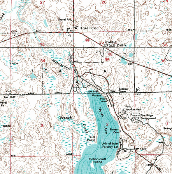 Topographic map of the Lake Itasca Minnesota area