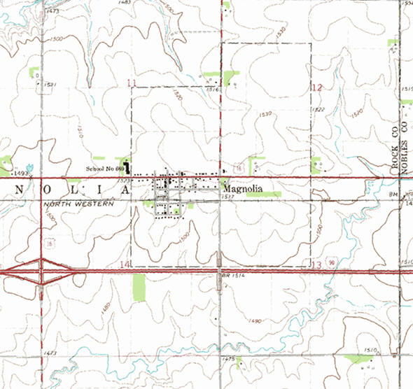 Topographic map of the Magnolia Minnesota area