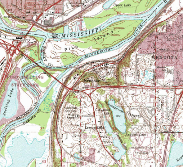 Topographic map of the Mendota Minnesota area