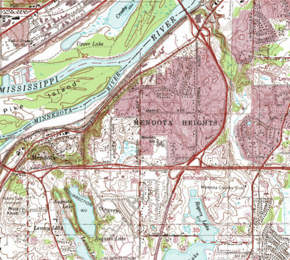 Topographic map of the Mendota Heights Minnesota area