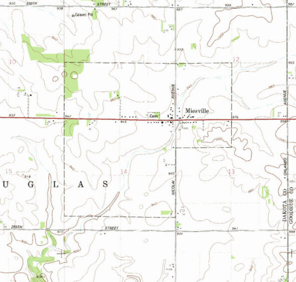 Topographic map of the Miesville Minnesota area