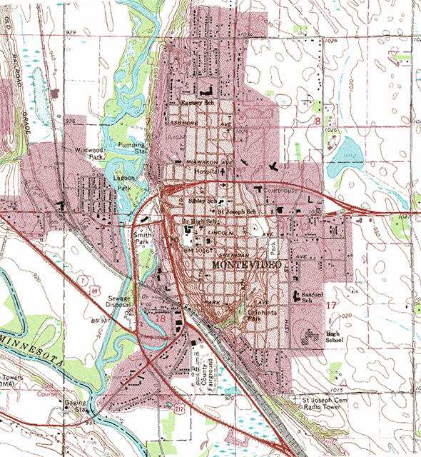 Topographic map of the Montevideo Minnesota area