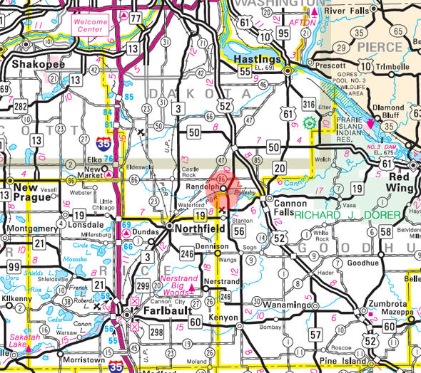Minnesota State Highway Map of the Randolph Minnesota area